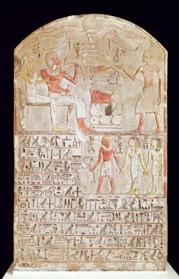 Stele depicting a funerary meal, New Kingdom