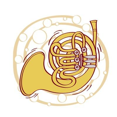 Illustration of French Horn against white background | Musical Instruments