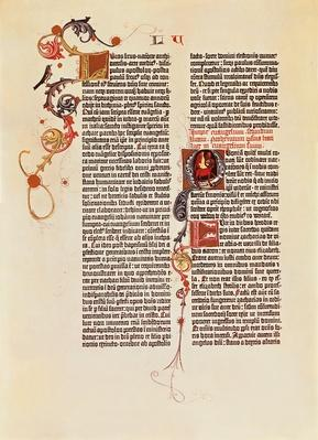 Page of the Bible printed by Gutenberg | Pre-Industrial Revolution Inventors and Inventions