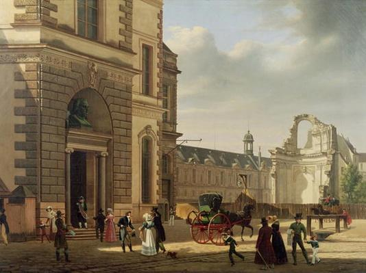 The Entrance to the Musee de Louvre and St. Louis Church, 1822