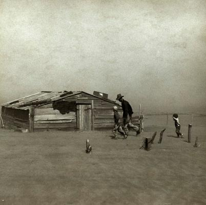 Farmer and Sons Walking in the Face of a Dust Storm | Ken Burns: The Dust Bowl