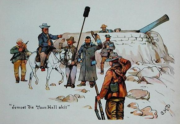 Jemoet die Town Hall skit, from 'The Leaguer of Ladysmith', 1900