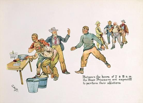 'Between the hours of 7 and 8 a.m. the Boer prisoners are expected to perform their ablutions', from 'The Leaguer of Ladysmith', 1900