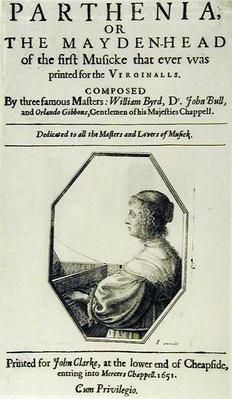 Frontispiece to 'Parthenia' or 'The Maiden Head', composed by William Byrd