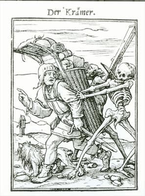 Death and the Pedlar, from 'The Dance of Death', engraved by Hans Luutzelburger, c.1538