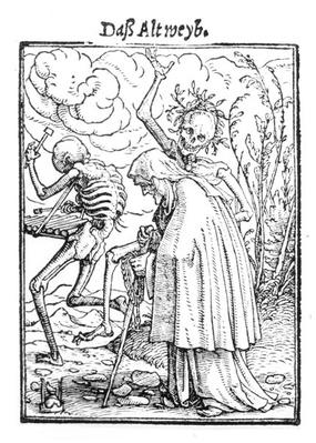 Death and the Old Woman, from 'The Dance of Death', engraved by Hans Lutzelburger, c.1538
