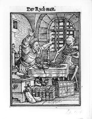Death and the Rich Man, from 'The Dance of Death', engraved by Hans Lutzelburger, c.1538
