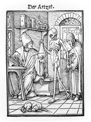 Death and the Physician, from 'The Dance of Death', engraved by Hans Lutzelburger, c.1538