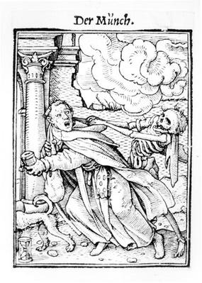 Death and the Mendicant Friar, from 'The Dance of Death', engraved by Hans Lutzelburger, c.1538