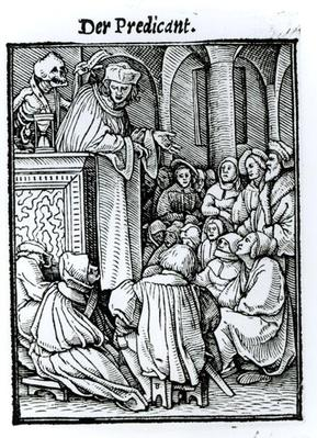 Death and the Preacher, from 'The Dance of Death', engraved by Hans Lutzelburger, c.1538