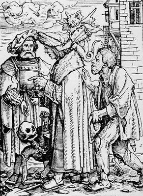 Death and the Councillor, from 'The Dance of Death', engraved by Hans Lutzelburger, c.1538