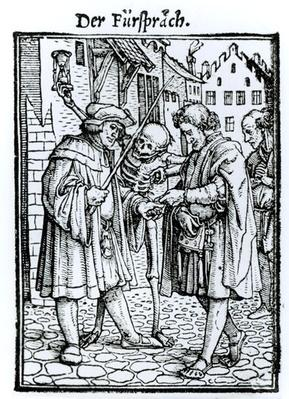 Death and the Barrister, from 'The Dance of Death', engraved by Hans Lutzelburger, c.1538