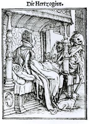Death and the Lady, from 'The Dance of Death', engraved by Hans Lutzelburger, c.1538