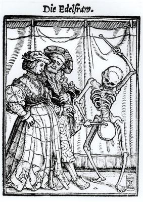 Death and the Noblewoman, from 'The Dance of Death', engraved by Hans Lutzelburger, c.1538