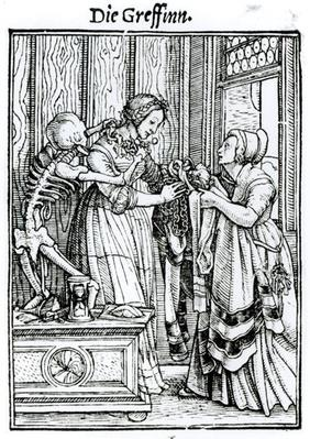 Death and the Mistress, from 'The Dance of Death', engraved by Hans Lutzelburger, c.1538