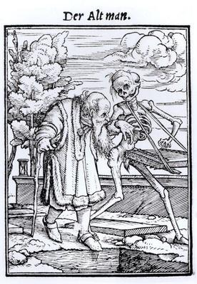 Death and the Old Man, from 'The Dance of Death', engraved by Hans Lutzelburger, c.1538