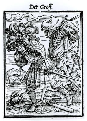 Death and the Count, from 'The Dance of Death', engraved by Hans Lutzelburger, c.1538