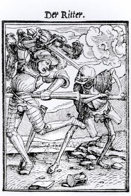 Death and the Knight, from 'The Dance of Death', engraved by Hans Lutzelburger, c.1538