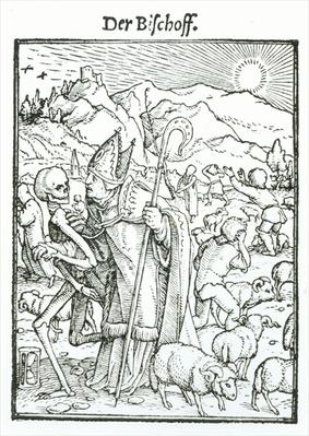 Death and the Bishop, from 'The Dance of Death', engraved by Hans Lutzelburger, c.1538