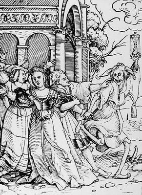 Death and the Courtier, from 'The Dance of Death', engraved by Hans Lutzelburger, c.1538
