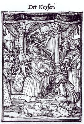 Death and the Emperor, from 'The Dance of Death', engraving by Hans Lutzelburger, c.1538
