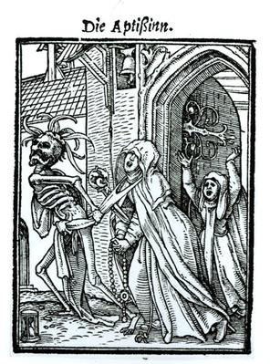 Death and the Abbotess, from 'The Dance of Death', engraved by Hans Lutzelburger, c.1538
