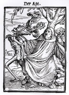 Death and the Abbot, from 'The Dance of Death', engraved by Hans Lutzelburger, c.1538