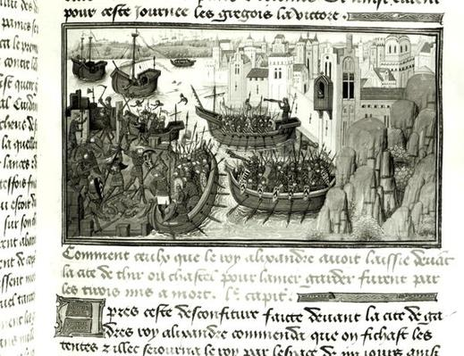 The First Attack on Tyre, from the 'Histoire du Grand Alexandre' 1460