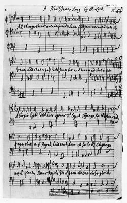 Music score for a New Year's Song, composed by Matthew Locke
