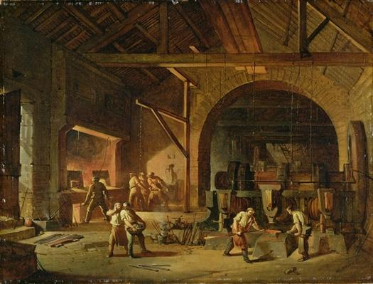 Interior of an Ironworks, 1850