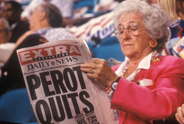 "Woman Reads ""Perot Quits"" Headlines at the DNC 
