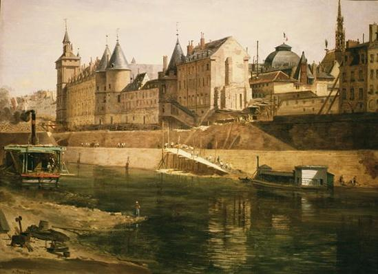 The Palais de Justice, the Conciergerie and the Tour de l'Horloge, after 1858