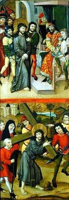 Christ Before Pilate and Christ Carrying the Cross, panel from and altarpiece depicting scenes of the Passion and saints, 1490