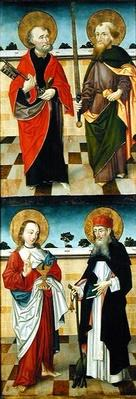 St. Peter Holding a Key, St. Paul Holding a Sword, St. John the Evangelist Holding a Chalice, St. Anthony the Great Holding a Pilgrim's Rod