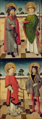 Top: St. Jacob as a Pilgrim and St. Matthew Holding a Book and a Sword; Bottom: St. Lawrence Holding a Grid Iron and St. Sebastian Holding a Bow and Arrow