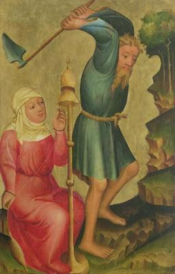 Adam and Eve at Work, detail from the Grabow Altarpiece, 1379-83