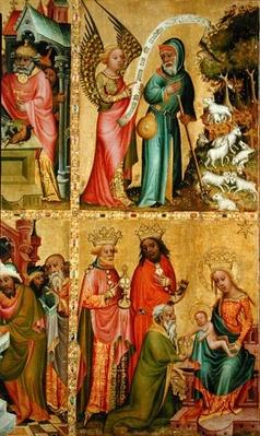 The Annunciation to St. Joachim and the Adoration of the Magi, from the left wing of the Buxtehude Altar, 1400-10