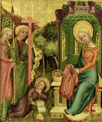 Visit of the Angel, from the right wing of the Buxtehude Altar, 1400-10