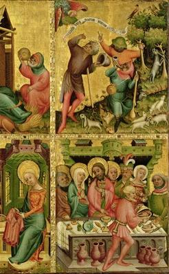 The Annunciation to the Shepherds and the Marriage at Cana, from the right wing of the Buxtehude Altar, 1400-10
