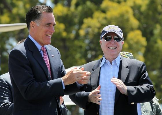 Mitt Romney Campaigns With John McCain At Veterans Museum On Memorial Day | U.S. Presidential Elections 2012