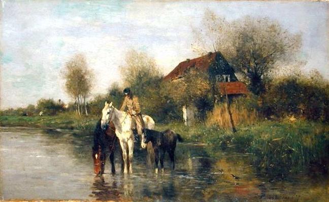 Horses at Water, 1877