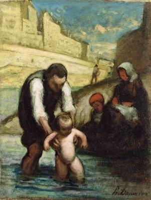 The First Swim by Daumier, Honore (1808-79)