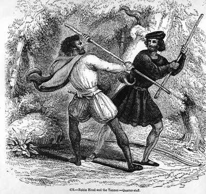 Robin Hood and the Tanner with Quarter-staffs