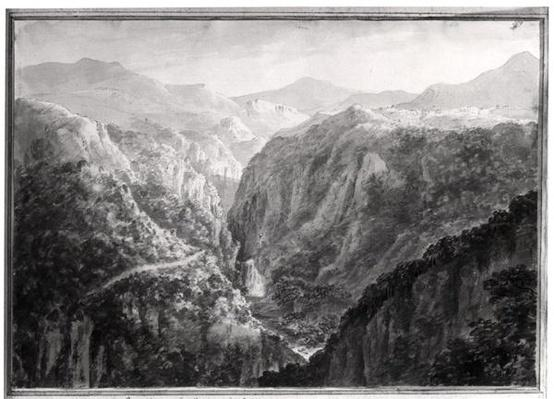 Scene from the Inn at Devil's Bridge with the Fall of the Rhydal, from 'Views in England, Scotland and Wales', 1804