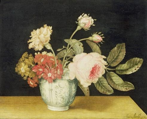 Flowers in a Delft Jar