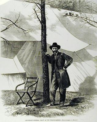 Lieutenant General Ulysses S. Grant, at his Head-Quarters, illustration from 'Harper's Weekly', 16th July 1864 (engraving) (b/w photo) by Brady, Mathew (1823-96) (after)