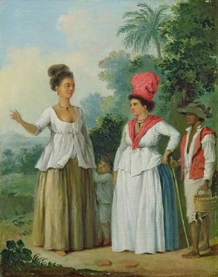 West Indian Women of Colour, with a Child and Black Servant, c.1780