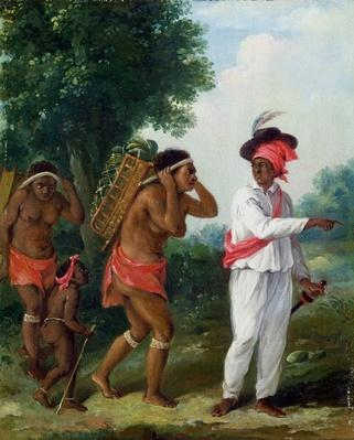 West Indian Man of Colour, Directing two Carib Women with a Child, c.1780