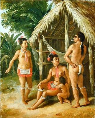 A Leeward Islands Carib Family outside a Hut, c.1780