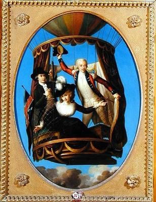 Captain Vincenzo Lunardi with his Assistant George Biggin and Mrs Letitia Anne Sage, in a Balloon, 1785